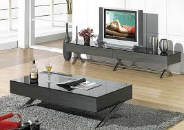 modern glossy gray coffee table cr1074