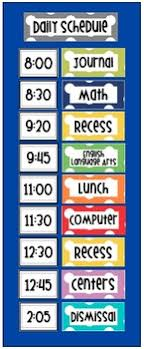 Class Daily Schedule Pocket Chart Polka Dot Multi Color Cards Editable