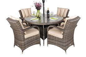 4 seat round rattan dining set kensington deluxe free parasol free base cover
