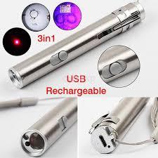 <b>Stainless Steel LED</b> Torch Light Mini Pen Flashlight USB ...