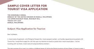 Visa Application Cover Letter Project Gora Sample Cover Letter For Tourist Visa Application
