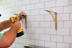 how to hang tile on wall a step how to hang open shelving on tile the how to hang tile on wall