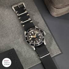 22mm black nato leather watch strap