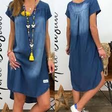 2020 Women V Collar Pullover Short Sleeve Denim Dress Plus Size ...