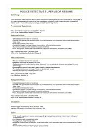 Sample Police Detective Supervisor Resume