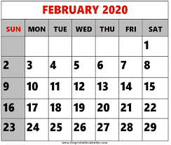 February 2020 Calendar Template Printable February 2020 Printable Calendars