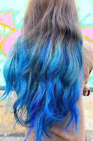 Blue Dip Dye On Light Brown Hair Dark Brown Hair Dip Dyed Blonde Hair Color Highlighting