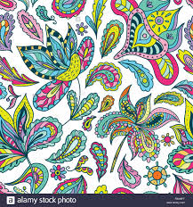 Fabric With Yoga Designs Seamless Colorful Bright Expressive Paisley And Floral