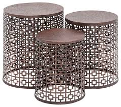 squares copper metal accent tables set of 3
