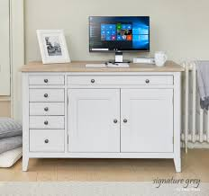 baumhaus mobel solid oak hidden home office. Signature Grey Hidden Home Office Desk CFF06A_1 Baumhaus Mobel Solid Oak