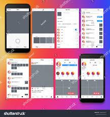 Picture Frame Design App Instagram Screen Interface Social Media Application Stock