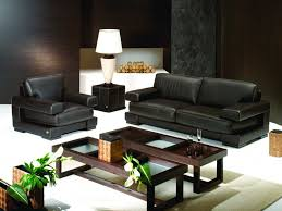 simple black 2 seater leather sofa with cherry wooden glass top coffee table