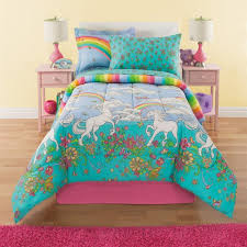 6 piece girls unicorn rainbow comforter set twin reversible bedding beautiful allover flowers and