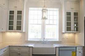 Kitchen, Remarkable Window Design To View Outdoor Scenery With White  Domination For Over The Sink Design Ideas