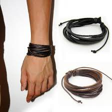 details about 2pcs wrap multilayer genuine black leather bracelet braided rope men s jewelry