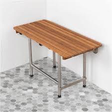 teakworks4u burmese teak ada shower seat with drop down legs