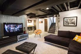 awesome corrugated metal ceiling basement industrial with black leather renovation exposed ducting