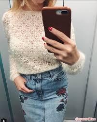 Бирюзовый свитер из Кид мохера | Вязание, Джинсовая юбка ...