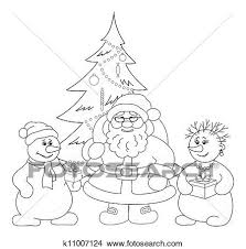 christmas drawing outline. Fine Christmas Drawing  Santa Claus Christmas Tree And Snowmans Outline Fotosearch  Search Clip On Outline W