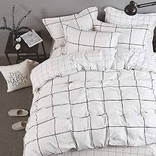 white big grid plaid bedding sets