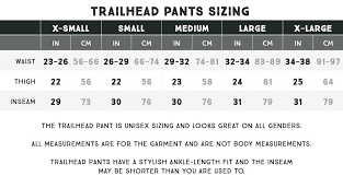 Trailhead Pants Sizing Coalatree