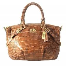 Coach Large Leather Exotic Leather Shoulder Madison Sophia Satchel in  Toffee Brown and Gold ...