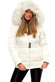 shola white padded faux fur hooded parka coat