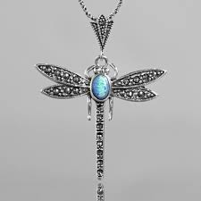beautiful art deco style dragonfly pendant in blue gilson opal marcasite sterling silver