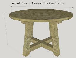 60 inch wood beam round dining table