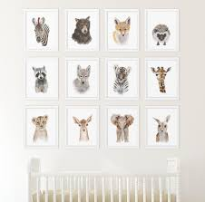 set of 12 prints animal art collection nursery art home