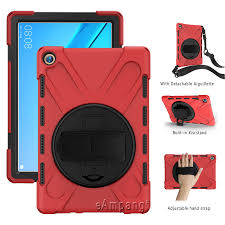 Ốp Lưng Cho Máy Tính Bảng Huawei Mediapad M5 10 Pro 10.8 CMR W09 CMR W19  Xoay Đứng Trẻ Em An Toàn Silicone Chống Sốc Dây Đeo Vai Dây Da