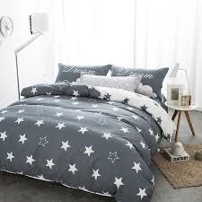 bedding sets black and white star print 100 cotton twin double queen duvet cover bed sheet pillows bedline for boys boyfriend with 192 35 piece on