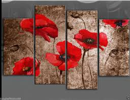 large red brown poppies painting canvas artwork no frames