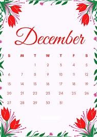 Best Floral December Calendar 2020 Cute ...
