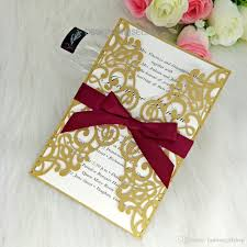 Gold Laser Cut Wedding Invites Hollow Invitations Cards With Ribbon For Business Birthday Quinceanera Graduation Invitation