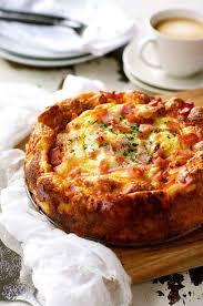 Cheese And Bacon Breakfast Strata Cake Bread Bake Recipetin Eats