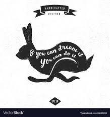 Rabbit Designer Label Inspiration Quote Vintage Design Label Rabbit