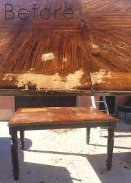 refinishing a wood veneer table