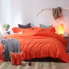 cotton and linen soft bed sheet bright solid color plain orange bedding sets double 200cm king 240cm duvet covers bedlinen bedding duvet boys bedding set