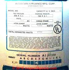 Us Craftmaster Water Heater Age Chart American Water Heater Parts Thermocouple