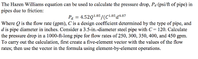 Hazen Williams Formula Pipe Flow Chart Solved The Hazen Williams Equation Can Be Used To Calcula