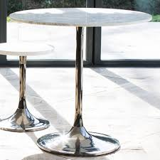 notting white marble top dining table round small with black chrome base