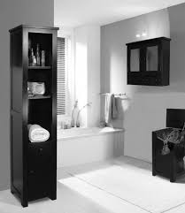Bathroom Black Wooden Shelves On The Floor And Bathroom Cabinet Grey Wall