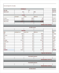 Sample Household Budgets Bi Weekly Family Budget Template Basic Family Budget