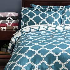 lyon 300 thread count cotton percale trellis patterned 3 piece duvet cover set