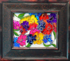 plentiful petunias by karla nolan framed glass painting