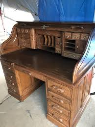 all oak roll top lg desk 70 wide u s a made 4 pc easy to transport furniture in saint charles mo offerup