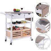 Costway Rolling Kitchen Trolley Island Cart Drop Leaf W/ Storage Drawer  Basket Wine Rack