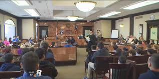 elementary students participate in mock trial