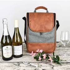 china high end leather wine tote carrier for 2 bottle wine with behind zippers and a small bag inside china travel wine cooler cooler wine bag
